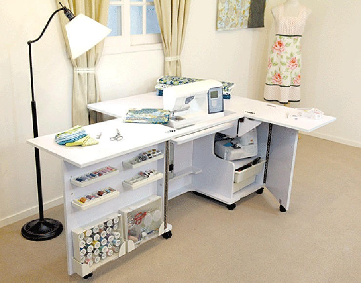 Our Most Por Cabinet Featuring A Large Work Surface With Specialised Storage For Notions Tools The Hidden Drawers And Cupboard Can Even Fit Your